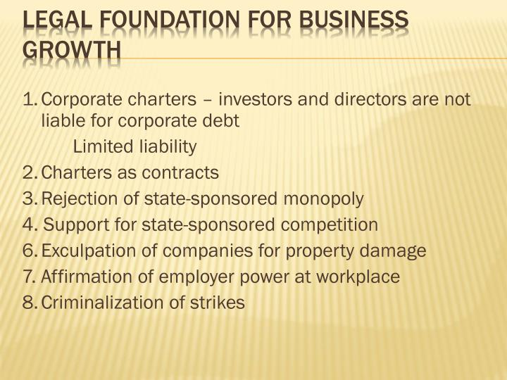 1.	Corporate charters – investors and directors are not liable for corporate debt