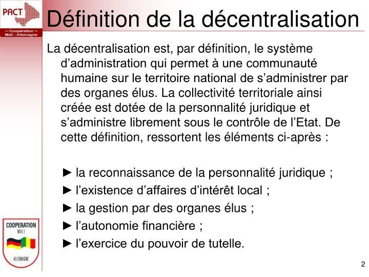 Définition de la décentralisation