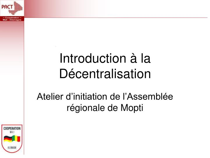 Introduction la d centralisation