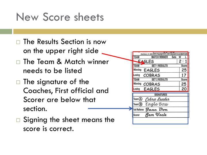 New Score sheets