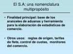 el s a una nomenclatura multiprop sito
