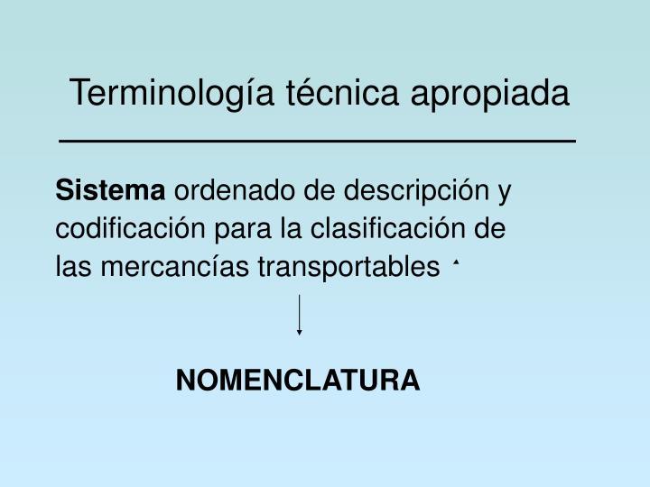 Terminología técnica apropiada