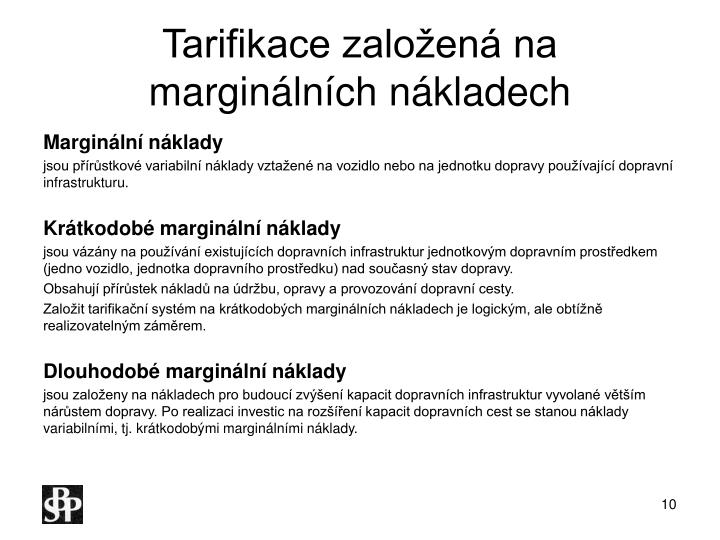 Tarifikace založená na marginálních nákladech
