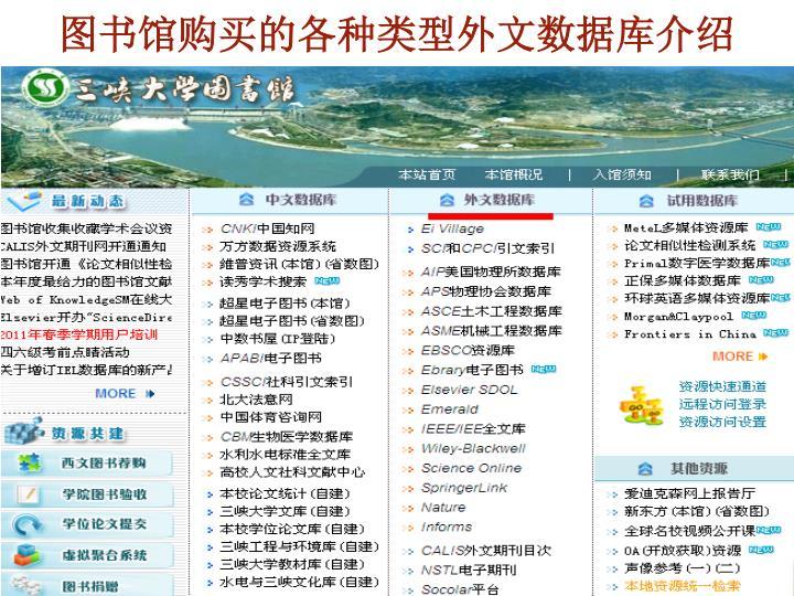 图书馆购买的各种类型外文数据库介绍