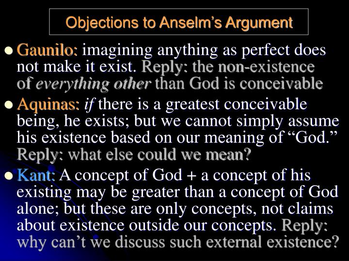 Objections to Anselm's Argument