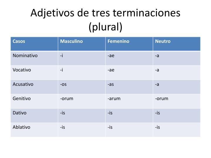 Adjetivos de tres terminaciones
