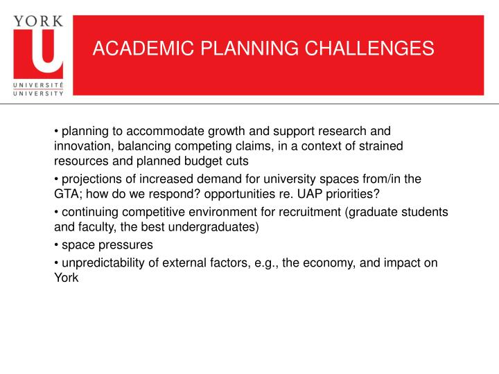 ACADEMIC PLANNING CHALLENGES