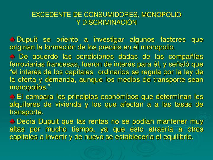 EXCEDENTE DE CONSUMIDORES, MONOPOLIO