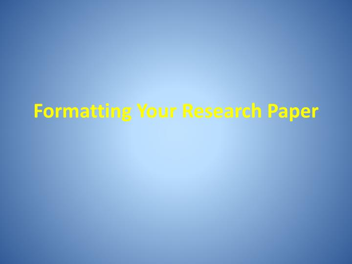 Powerpoint Presentation Research Paper