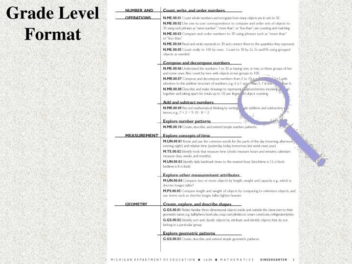 Grade Level Format