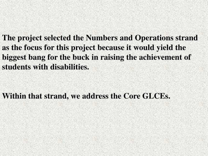 The project selected the Numbers and Operations strand as the focus for this project because it would yield the  biggest bang for the buck in raising the achievement of students with disabilities.