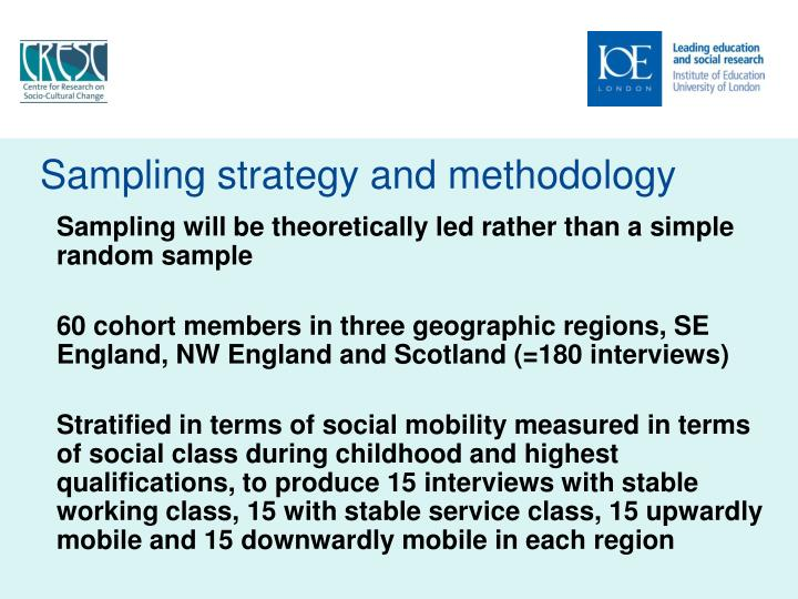 Sampling strategy and methodology