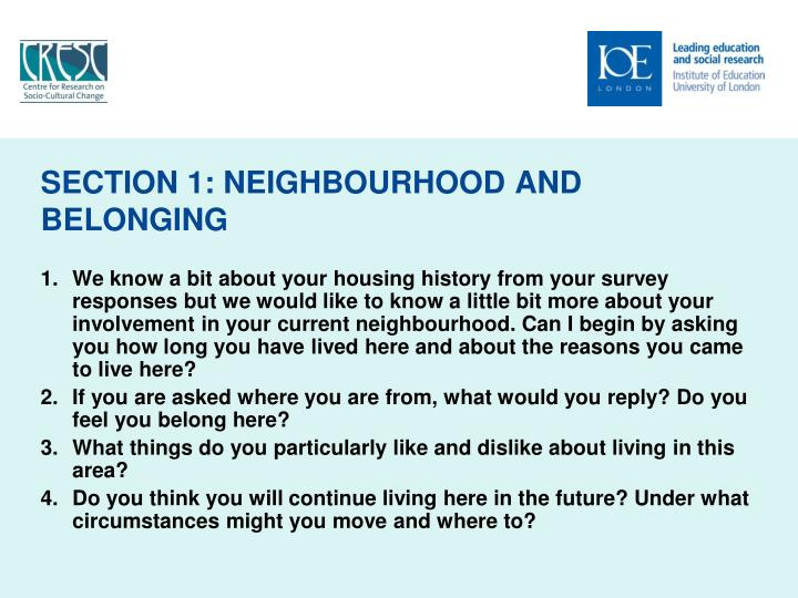 SECTION 1: NEIGHBOURHOOD AND BELONGING