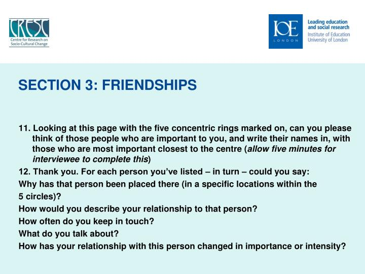 SECTION 3: FRIENDSHIPS
