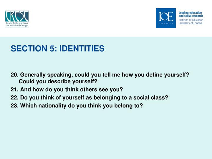 SECTION 5: IDENTITIES