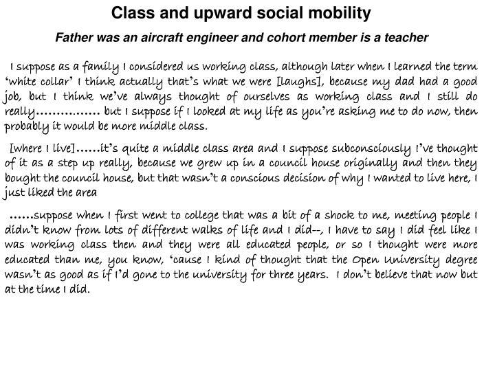 Class and upward social mobility