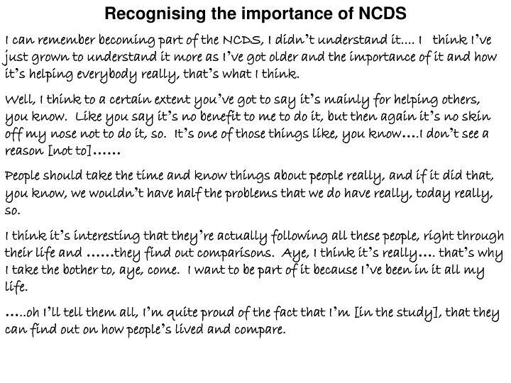 Recognising the importance of NCDS