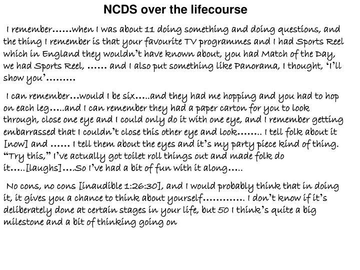 NCDS over the lifecourse
