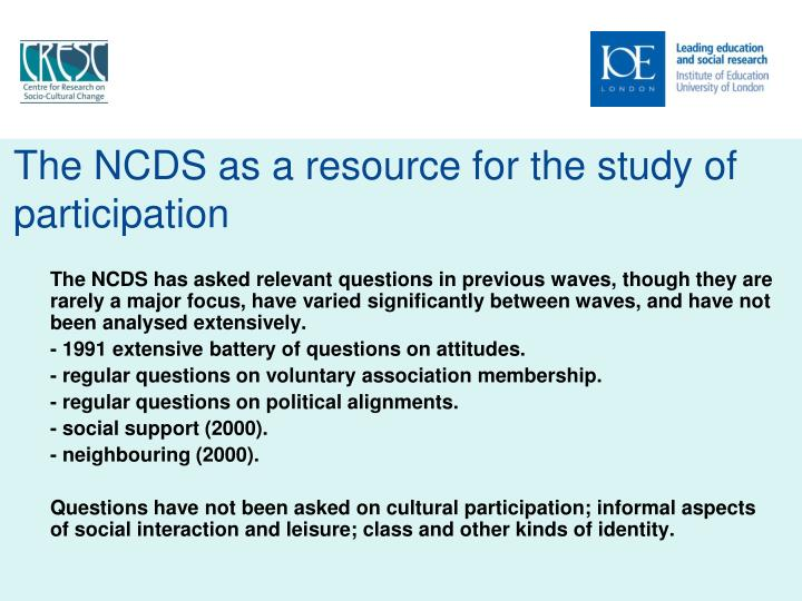 The NCDS as a resource for the study of participation