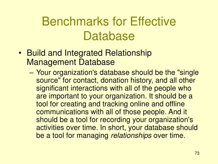 Benchmarks for Effective Database