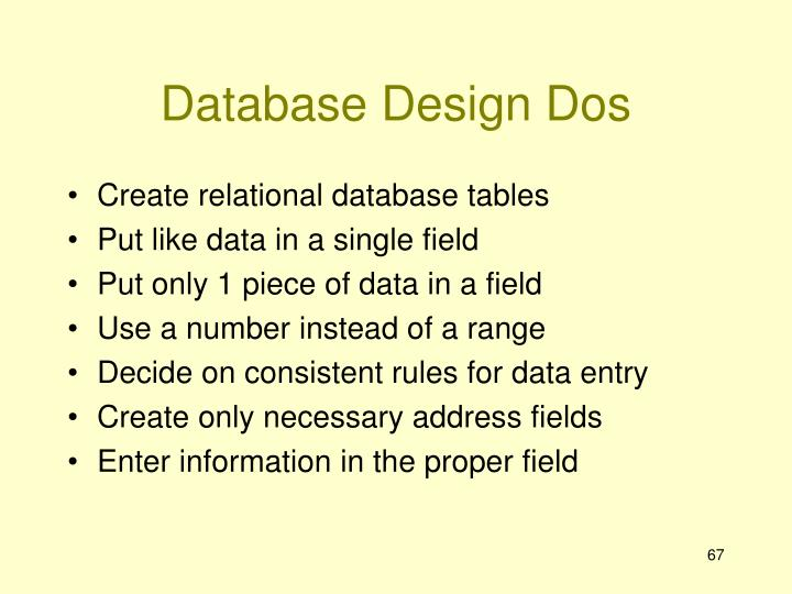 Database Design Dos