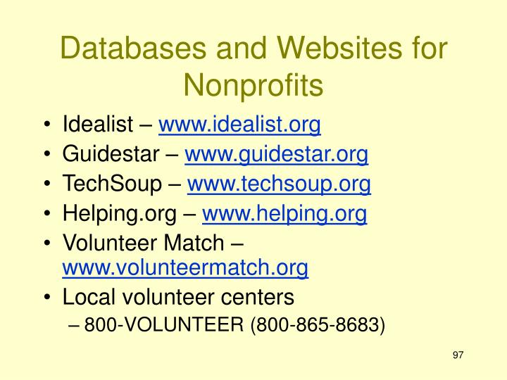 Databases and Websites for Nonprofits