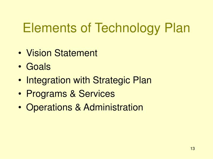 Elements of Technology Plan