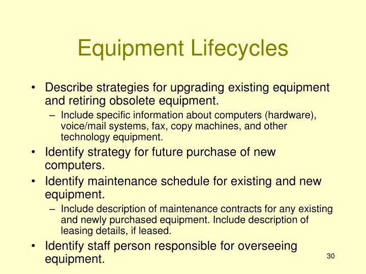 Equipment Lifecycles
