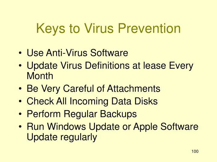 Keys to Virus Prevention
