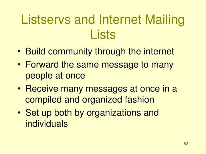 Listservs and Internet Mailing Lists