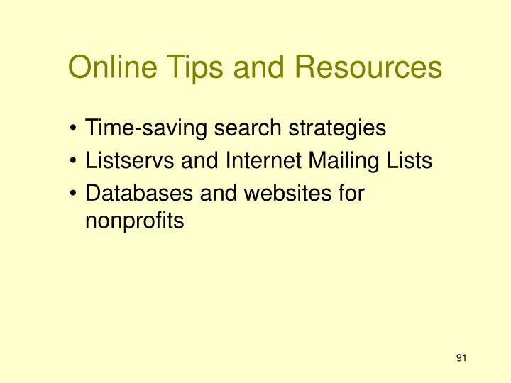 Online Tips and Resources