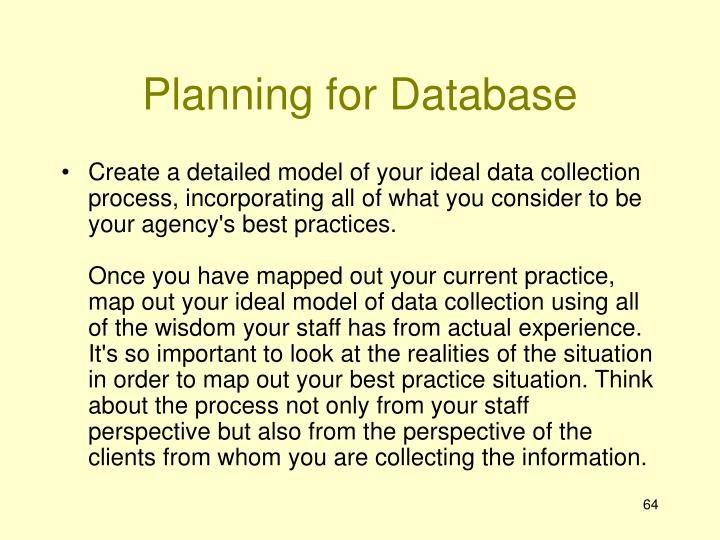 Planning for Database