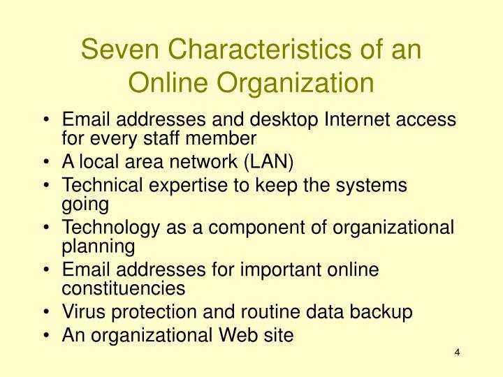Seven Characteristics of an Online Organization