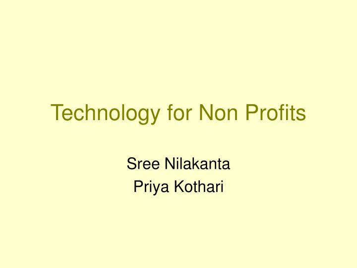 Technology for Non Profits