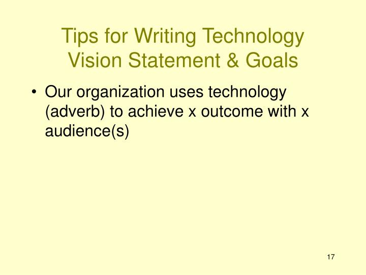 Tips for Writing Technology Vision Statement & Goals