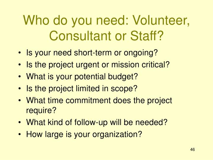 Who do you need: Volunteer, Consultant or Staff?