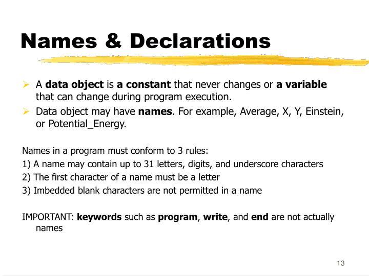 Names & Declarations