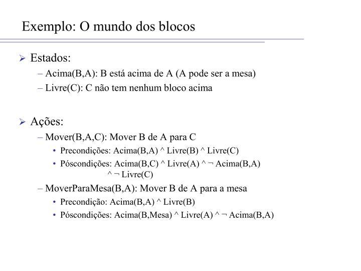 Exemplo: O mundo dos blocos