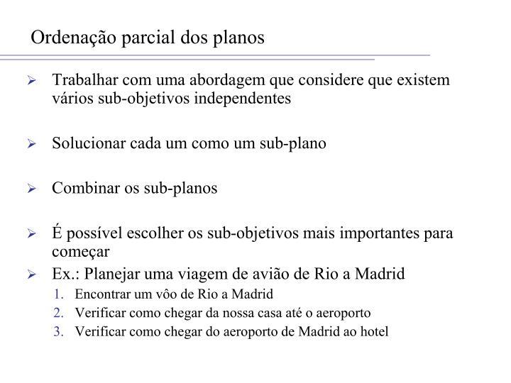 Ordenação parcial dos planos