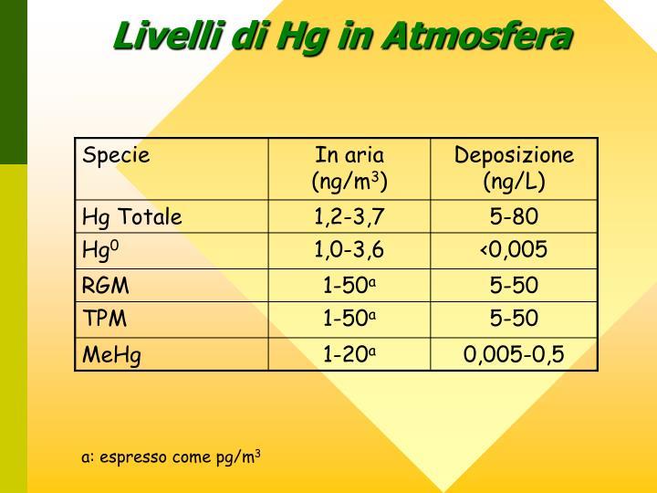 Livelli di Hg in Atmosfera