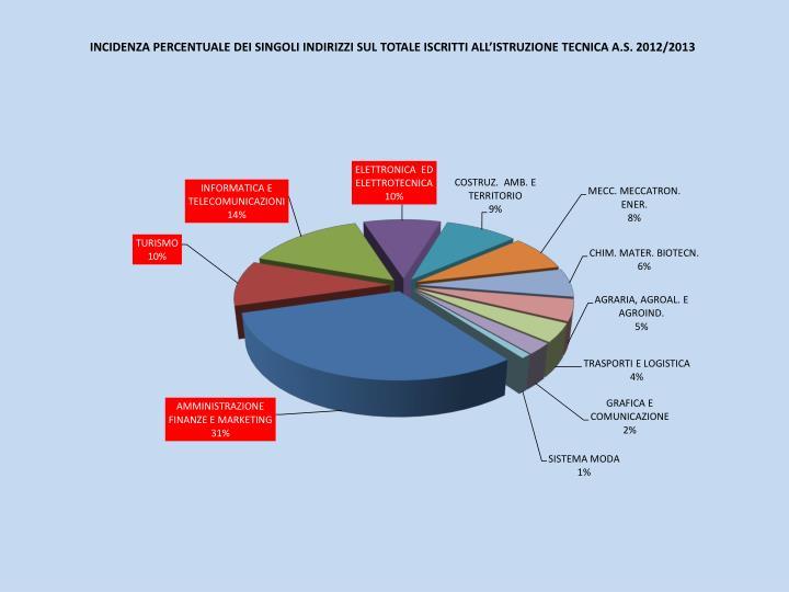 INCIDENZA PERCENTUALE DEI SINGOLI INDIRIZZI SUL TOTALE ISCRITTI ALL'ISTRUZIONE TECNICA A.S. 2012/2013