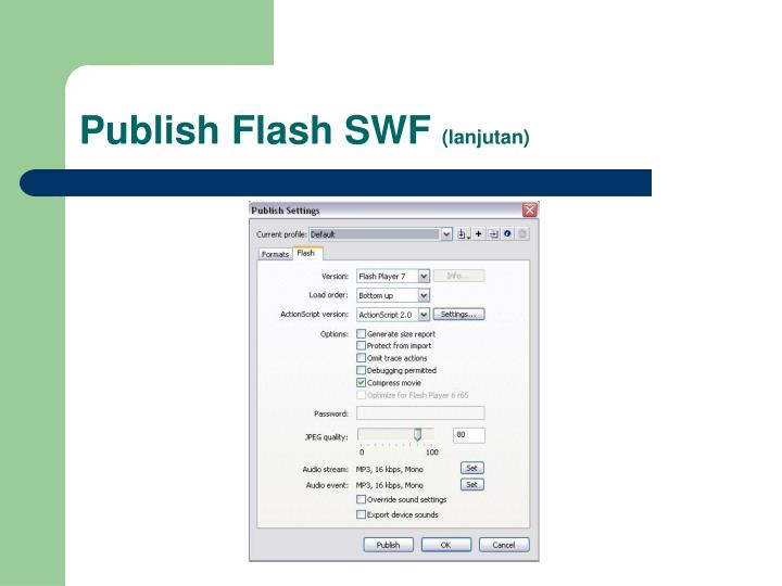 Publish Flash SWF