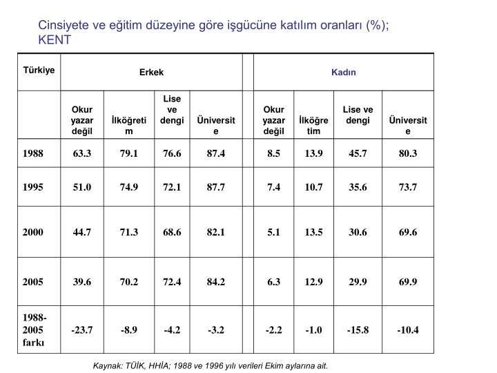 Cinsiyete ve eğitim düzeyine göre işgücüne katılım oranları (%)