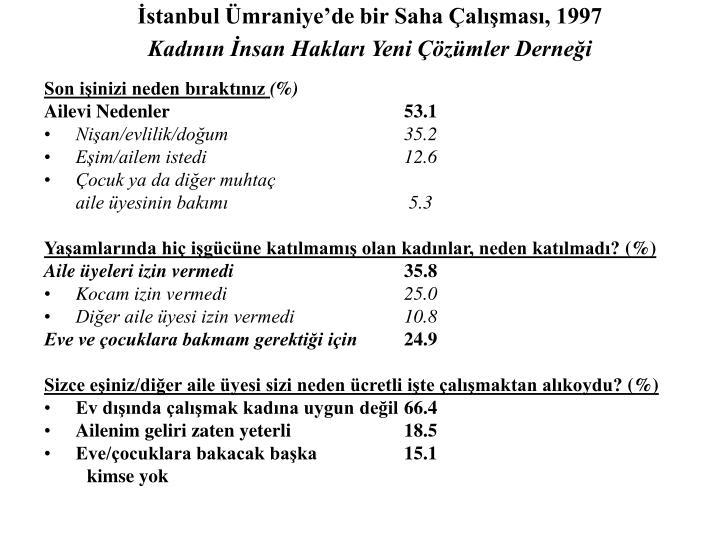 İstanbul Ümraniye'de bir Saha Çalışması, 1997