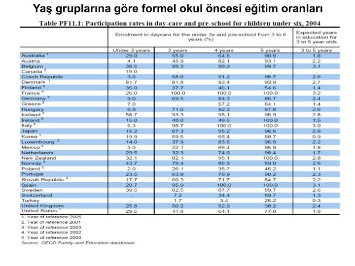 Yaş gruplarına göre formel okul öncesi eğitim oranları