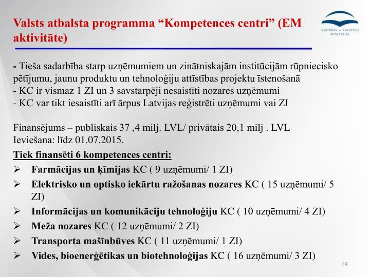 """Valsts atbalsta programma """"Kompetences centri"""" (EM aktivitāte)"""