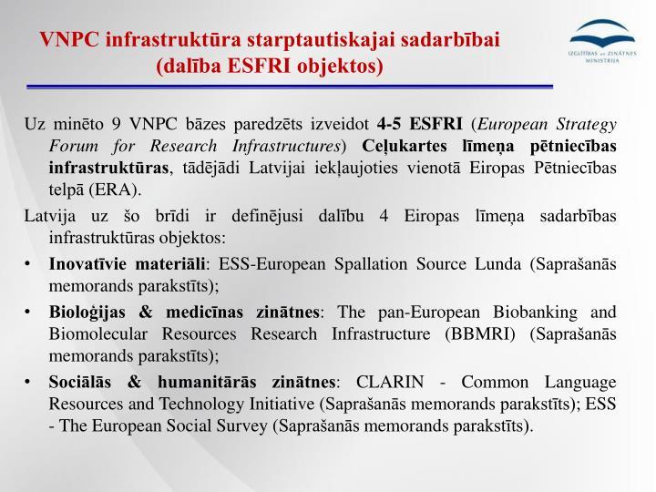VNPC infrastruktūra starptautiskajai sadarbībai (dalība ESFRI objektos)