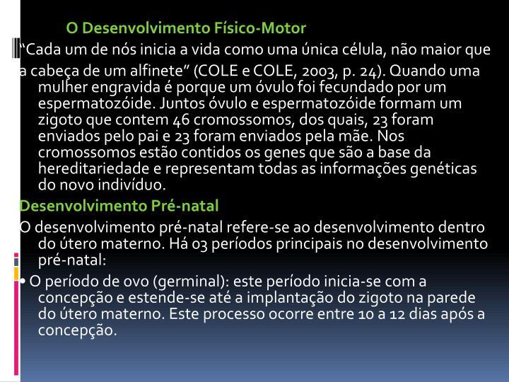 O Desenvolvimento Físico-Motor