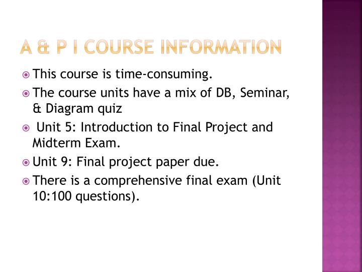 A & P I Course Information