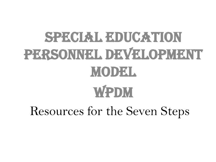 Resources for the Seven Steps